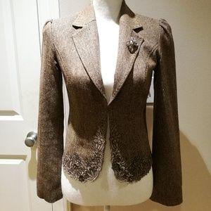 Arden B. Lace Trimmed Blazer Jacket